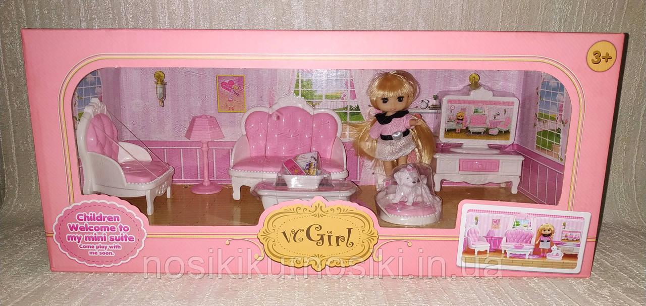Кукольная мебель — Гостиная, куколка, питомец, кресло, диван, телевизор