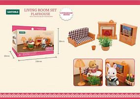 Мебель для флоксовых животных B11 Гостиная с камином (аналог Sylvanian Families)