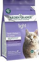 Беззерновой корм Arden Grange light диетический с курицей и картофелем для взрослых кошек всех пород
