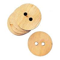 Пуговица круглая 2 дырки, 10 шт, фанера