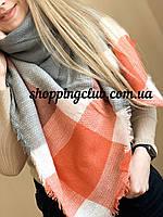 Шарф платок плед оранжевый в клетку 140 см*140 см