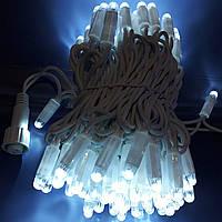 Уличная гирлянда белый провод нить 100 led белый