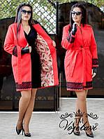 Женское Кашемир + подкладка + кружево макраме 48-54 рр. Батал цвета разные, фото 1