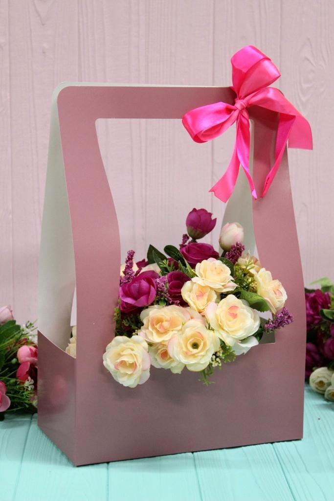 Коробка для цветов Hand bag 12*23,5*35см 10шт/уп - Темно-розовая
