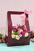 Коробка для цветов Hand bag 12*23,5*35см 10шт/уп - Бордовая