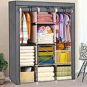 Текстильный Серый складной шкаф HCX на 3 секции «88130 grey» 130х45х175 см.