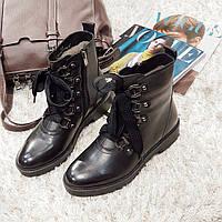 Ботинки женские зимние из натуральной кожи и натурального меха на плоской подошве черные 39