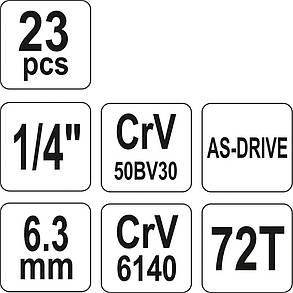 """Набір головок торцевих з кв. 1/4"""" М 4-13 мм з прикладними інстр-ми, 23 елем., YT-14421 YATO, фото 2"""