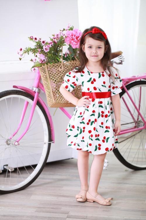Яркое красивое коттоновое детское платье с атласным пояском в комплекте, разные цвета