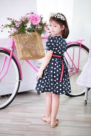 Яркое красивое коттоновое детское платье с атласным пояском в комплекте, разные цвета, фото 3
