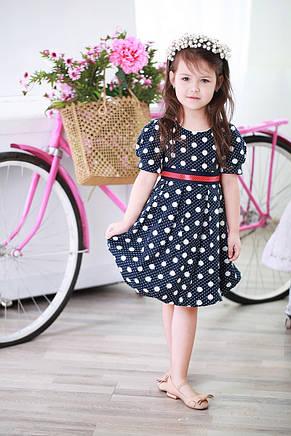 Яркое красивое коттоновое детское платье с атласным пояском в комплекте, разные цвета, фото 2