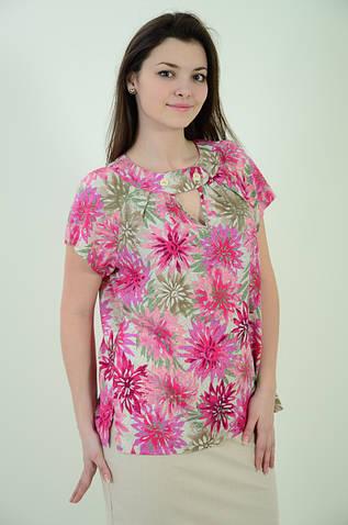 Блуза Бл 037-1, летняя, свободная ,штапель, растительный принт, 48-56.