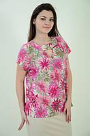Блуза женская свободная летняя с цветочным рисунком, бл 037-1 ,48-56.