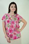 Блуза Бл 037-1, летняя, свободная ,штапель, растительный принт, 48-56., фото 2