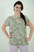 Блуза женская свободная летняя с цветочным рисунком, бл 037 олива ,48-56.