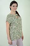 Блуза женская свободная летняя с цветочным рисунком, бл 037 олива ,48-56., фото 3