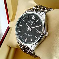 Кварцевые наручные часы Rolex B144 серебряного цвета с черным циферблатом с датой на металлическом браслете