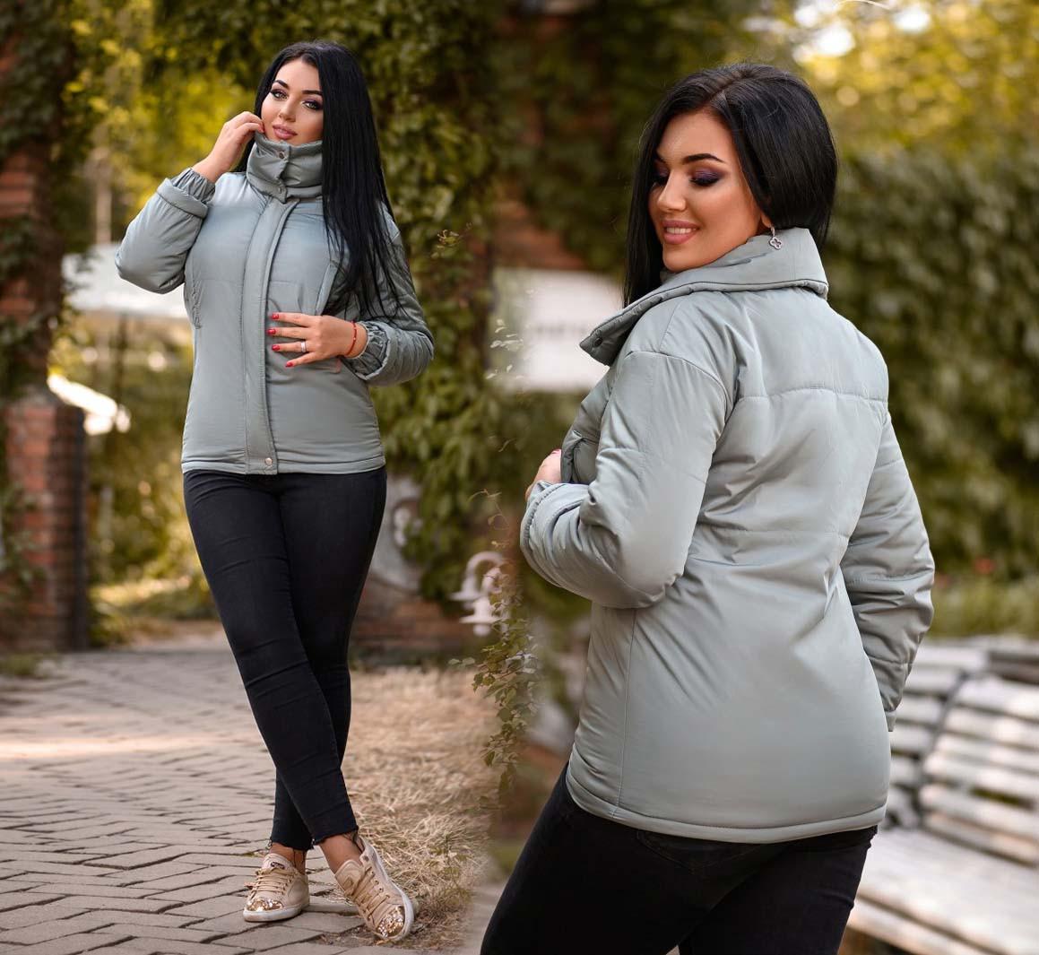 """Женская куртка на синтепоне демисезон в больших размерах 0502 """"Стойка Кармашки"""" в расцветках"""