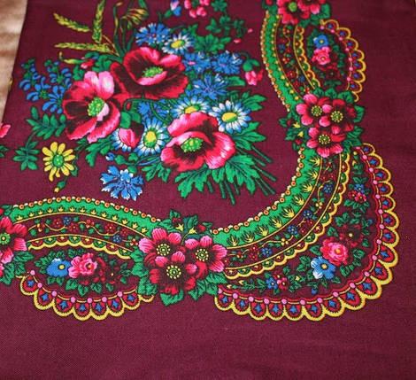 Украинский маленький бордовый платок Колосок, фото 2