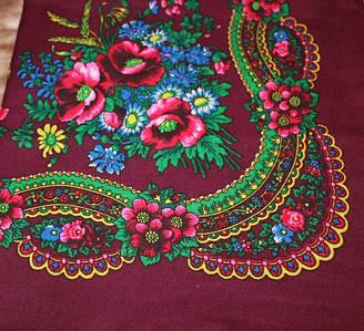 Украинский маленький бордовый платок Колосок