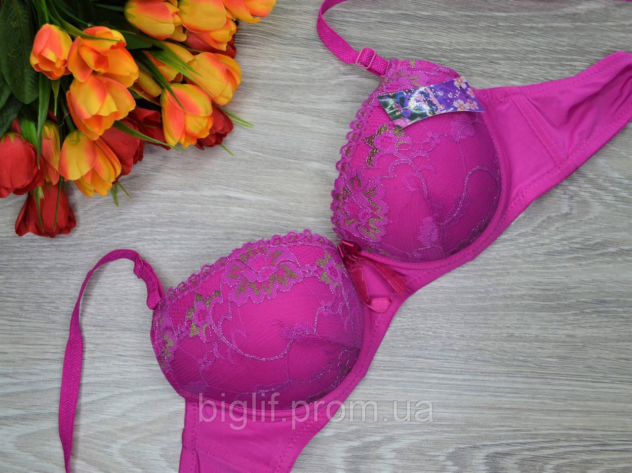 Бюстгальтер с люриксом розовый В  90 см