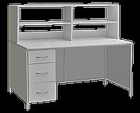Стол лабораторный с выдвижными ящиками и верхней надстройкой СЛ-001.02.03
