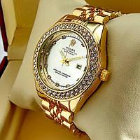 Женские кварцевые наручные часы Rolex A159 золотого цвета с серебряным циферблатом с датой на металл браслете