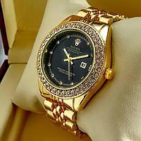 Женские кварцевые наручные часы Rolex A159 золотого цвета с черным циферблатом с датой на металлич браслете