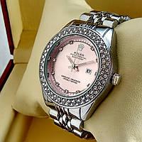 Женские кварцевые наручные часы Rolex A159 серебряного цвета с розовым циферблатом с датой на металл браслете