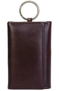 Стильная кожаная ключница Vintage 14931 Коричневая, Черный