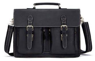 Сумка-портфель мужская из кожи на плечо Vintage 14878 Черная, Черный