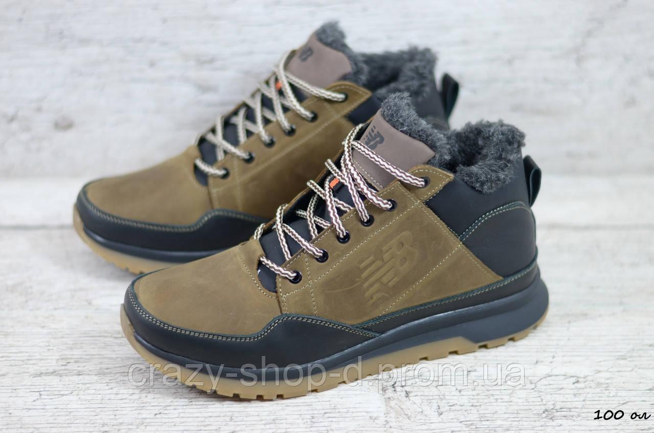 Мужские кожаные зимние кроссовки New balance (Реплика) (Код: 100 ол  ) ►Размеры [40,41,42,43,44,45]