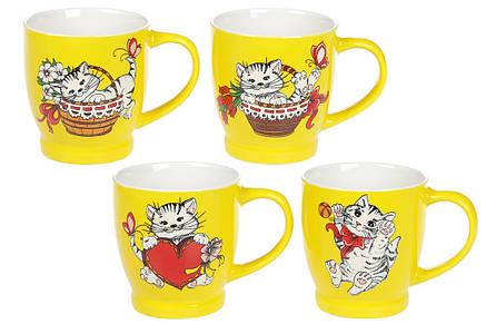 Кружка порцеляновий Веселі котики, 230мл, 4 види, фарфор, в упаковці 12шт. (588-171), фото 2