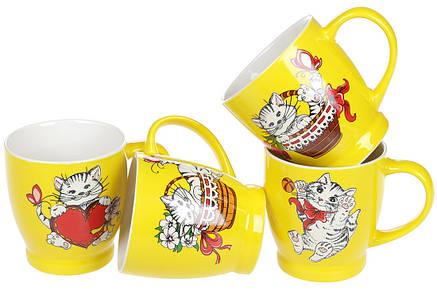 Кружка фарфоровая Веселые котики, 230мл, 4 вида, фарфор, в упаковке 12шт. (588-171), фото 2