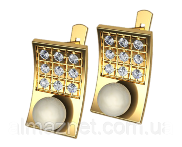 Золотые серьги с жемчугом Прямоугольные