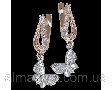 Золотые серьги-подвески Венецианские бабочки