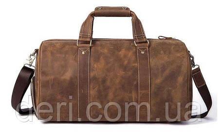 Сумка дорожная мужская кожаная Vintage 14893 Коричневая, Коричневый, фото 2