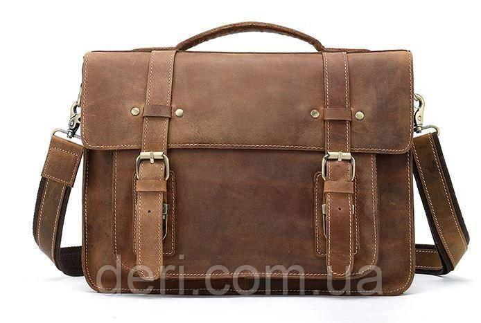 Сумка-портфель мужская из кожи на плечо Vintage 14775 Рыжая, Рыжий