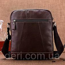 Сумка мужская гладкая кожа Vintage 14823 Коричневая, Коричневый, фото 3