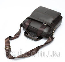 Вертикальная сумка мужская Vintage 14876 Серо-коричневая, Коричневый, фото 3