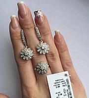Комплект украшений цветочек с цирконом серебро Цветик, фото 1