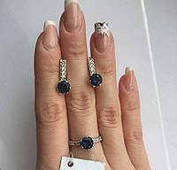Комплект в серебре с синим камнем Пенелопа, фото 1