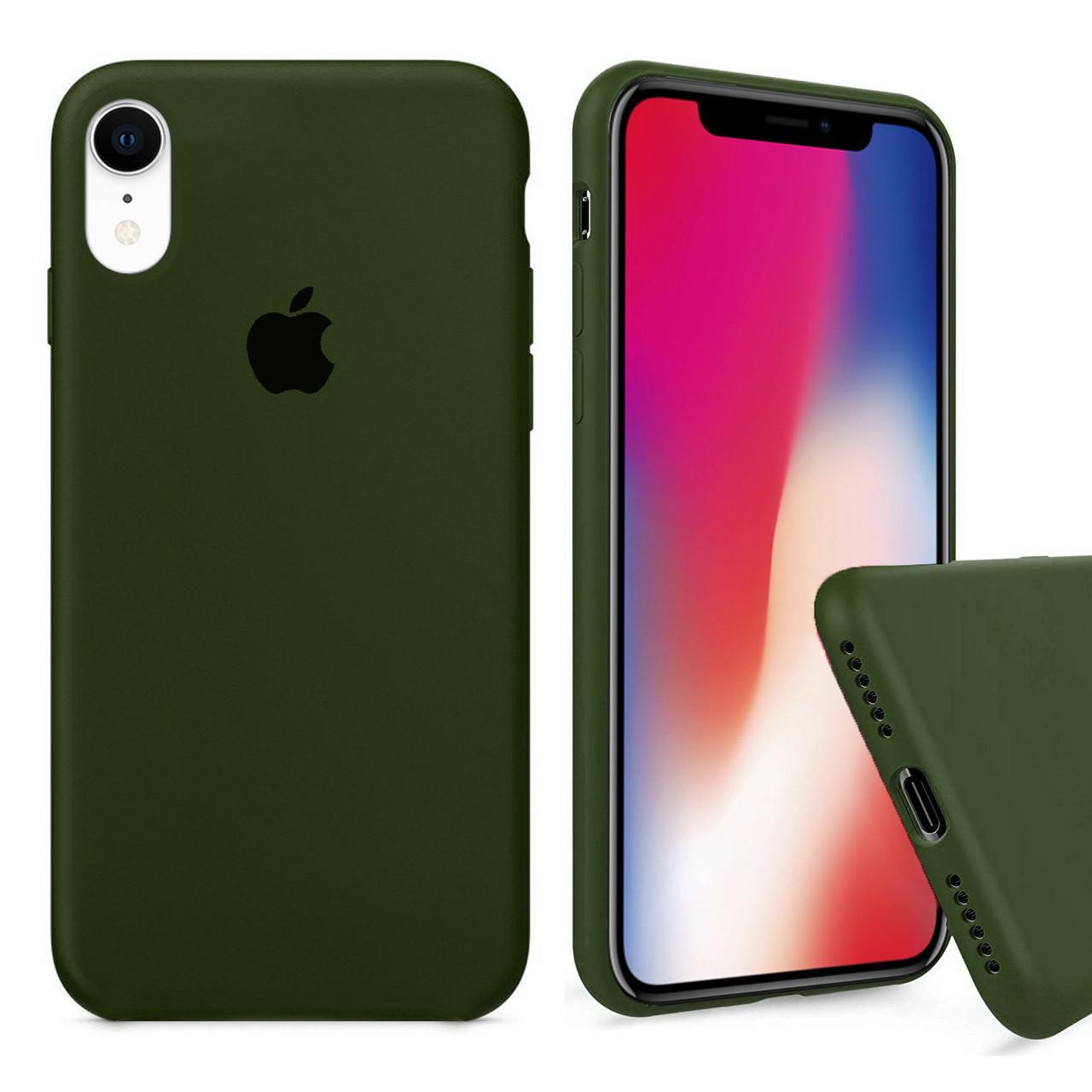 Чехол накладка xCase для iPhone XR Silicone Case Full olive