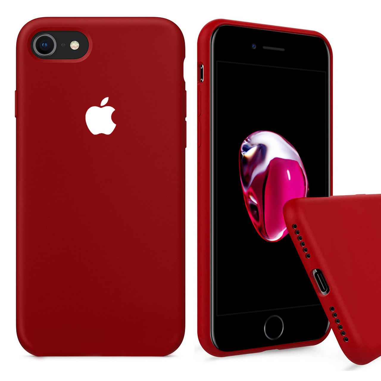 Чехол накладка xCase для iPhone 7/8 Silicone Case Full камелия с белым яблоком