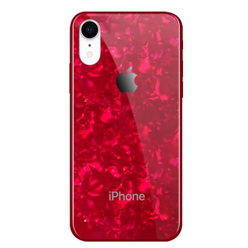 Чехол накладка xCase на iPhone XR Glass Marble case red