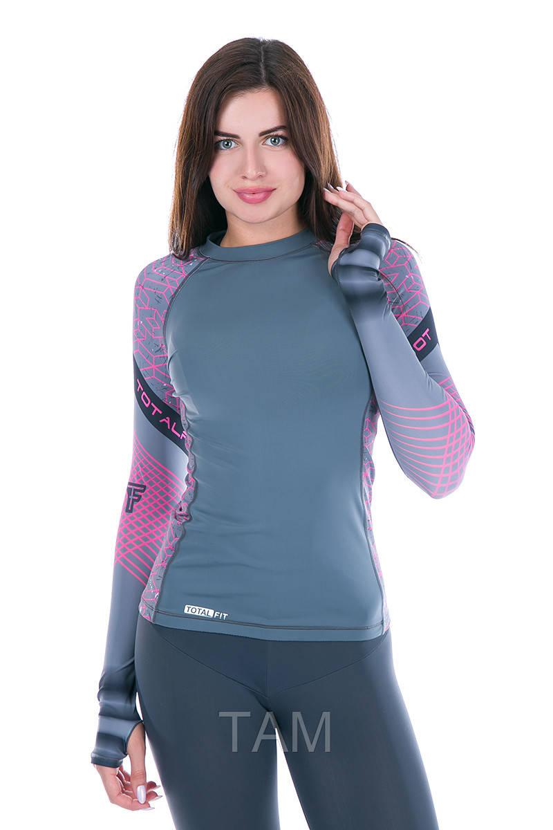 Рашгард женский Totalfit RW1-15 S черный,розовый, фиолетовый