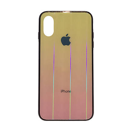 Чехол накладка xCase на iPhone XS Max Glass Shine Case Logo yellow, фото 2