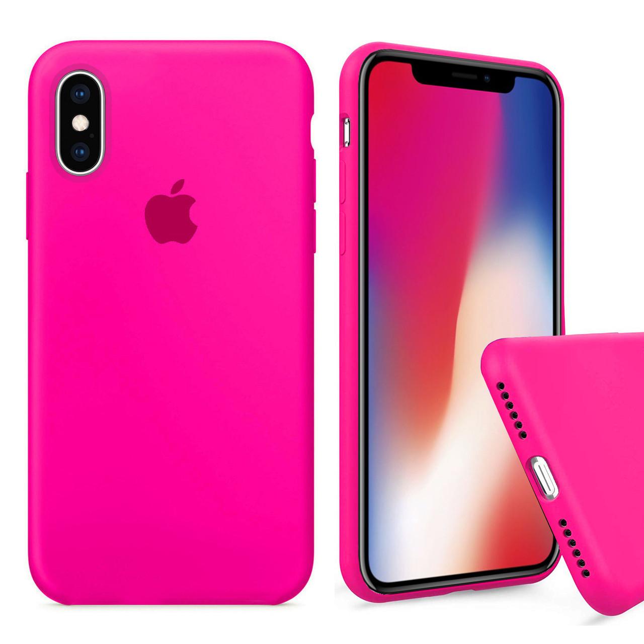 Чехол накладка xCase для iPhone X/XS Silicone Case Full barbie pink