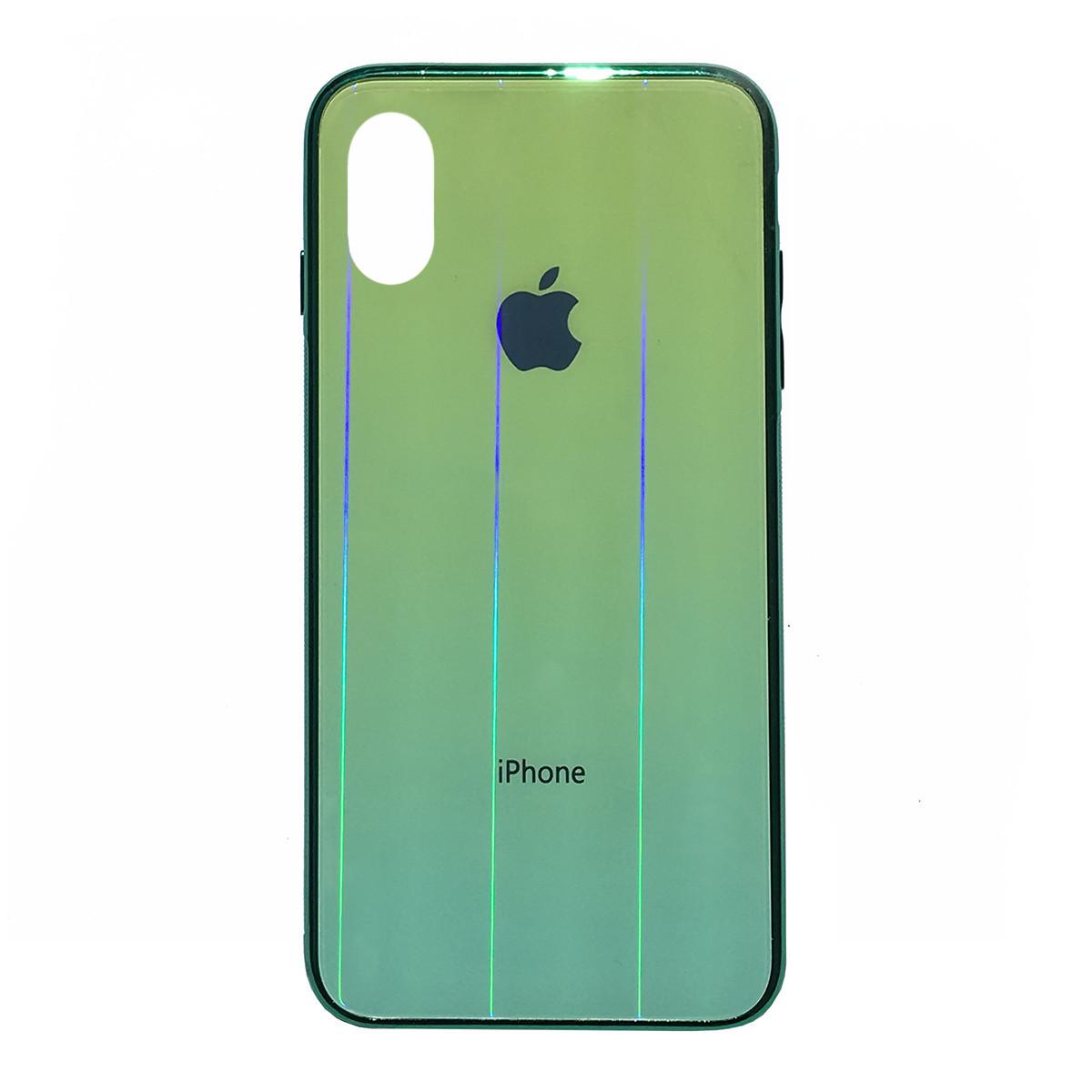 Чехол накладка xCase на iPhone XR Glass Shine Case Logo green