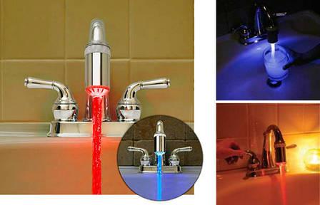 LED насадка на кран подсветка 3 цвета Серебристый (R0030), фото 2